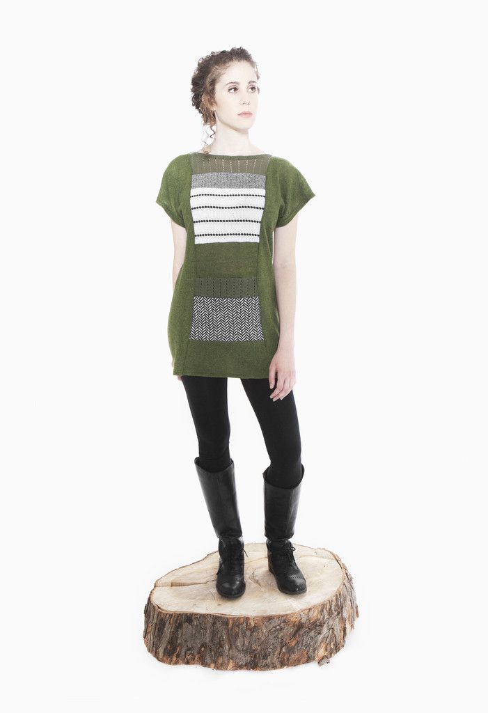 Jennifer Fukushima - Apiomorpha Tunic - Green - Recycled Wool & Cotton - Stripe - Herringbone - Patchwork - Eco Fashion - Sweater Knit