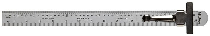 """Mitutoyo 950-300, Pocket Steel Rule, 6""""/150mm (1/64""""/1mm), 1/2"""" Wide, With Pocket Clip: Construction Rulers: Amazon.com: Industrial & Scientific"""