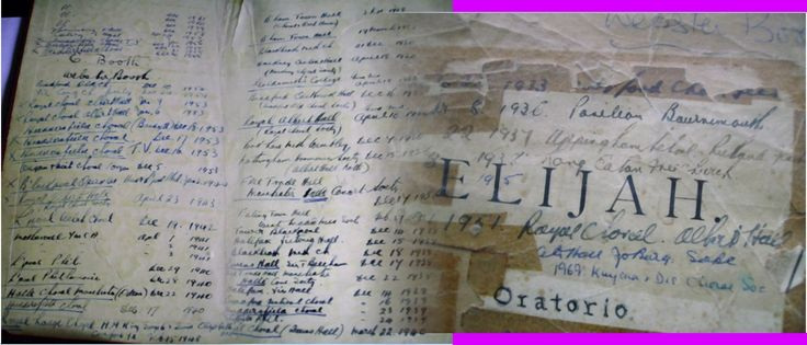 Webster's score of Messiah and front cover of Elijah - stitched together. He listed many of his performances in these scores.