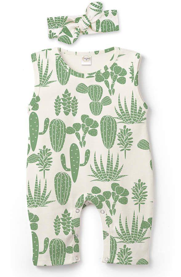 383a8e20c8f9 Green Cactus Garden Sleeveless Romper   Headband - Infant ...