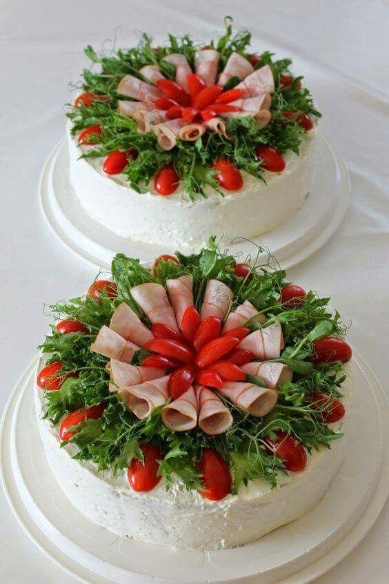 Salad decoration,  savory cold cake