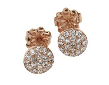 Σκουλαρίκια σε Ροζ χρυσό 18Κ Στρόγγυλα με Διαμάντια #Earrings #Pink_Gold #Diamonds #handmade #craftsmanship #goldsmith #Thessaloniki #Greece 25821