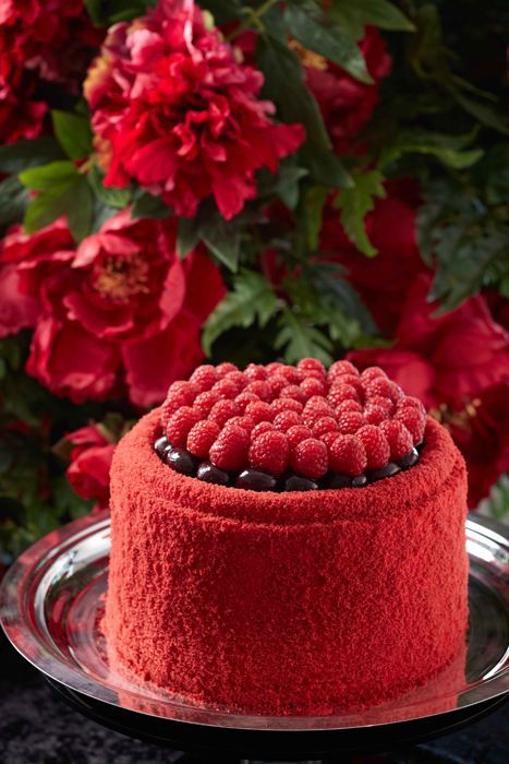 Just a beautiful cake for a Valentine's Day wedding, one at each table would look great. #red #raspberry