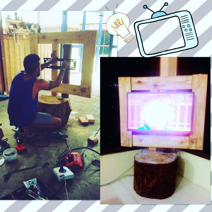 Diy pallet tv holder#palet#ideasdecoracio