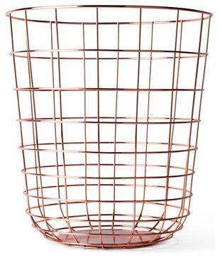Norm Wire Bin, Copper modern-waste-baskets