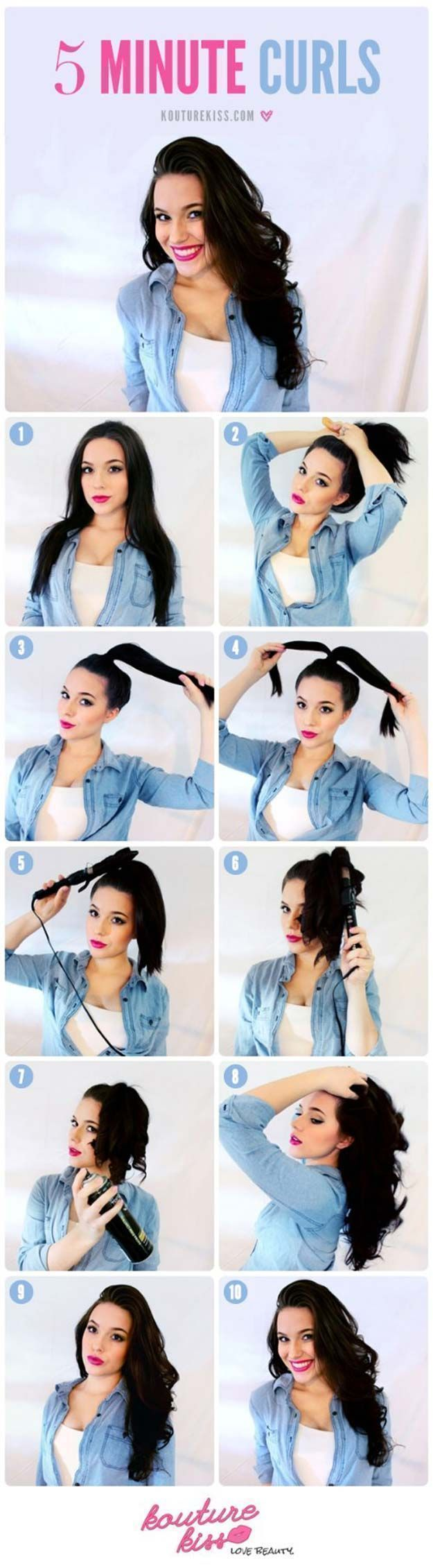 Cool and Easy DIY Hairstyles - 5 Minute Curls - Quick and Easy Ideas for Back to School Styles for Medium, Short and Long Hair - Fun Tips and Best Step by Step Tutorials for Teens, Prom, Weddings, Special Occasions and Work. Up dos, Braids, Top Knots and Buns, Super Summer Looks http://diyprojectsforteens.com/diy-cool-easy-hairstyles #diyhairstylesforschool #diyhairstylesstepbystep #diyhairstylescurls #weddinghairdosforlonghair