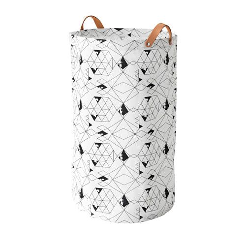 IKEA PLUMSA Laundry bag White/black 60 l The plastic coating on the inside protects against moisture.