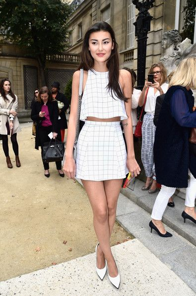 Best Dressed Front Row Celebs at PFW Spring 2015 --  Amalie Gassmann wore a window-pane–patterned set at Alexis Mabille