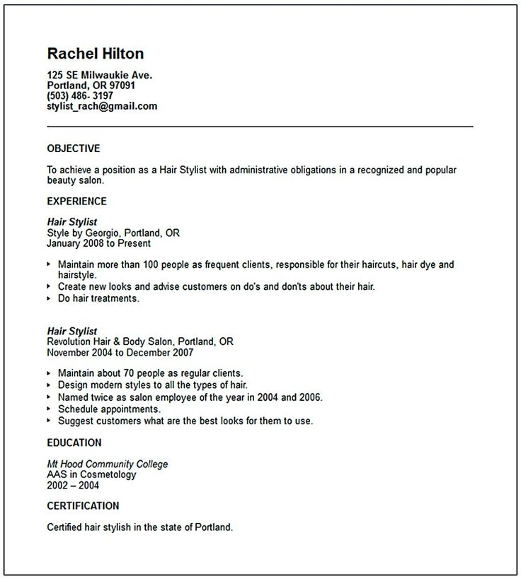 25 best ideas about Sample Objective For Resume – Hair Stylist CV Template