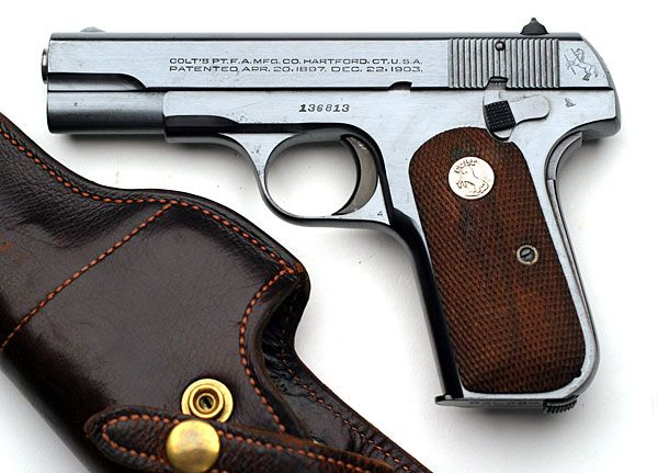 Colt Model 1908 Pocket Hammerless .380 ACP pistol serial number 136813 - Model M .380 pistol issued to Brigadier General Lotha A. Smith, USAF - In 1945