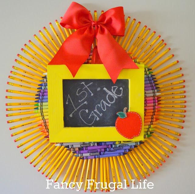 This pencil wreath was created by Lina at Fancy Frugal Life Blog. There are more photos of the details on her blog.  See more Back to School Wreath ideas at www.trendytree.com