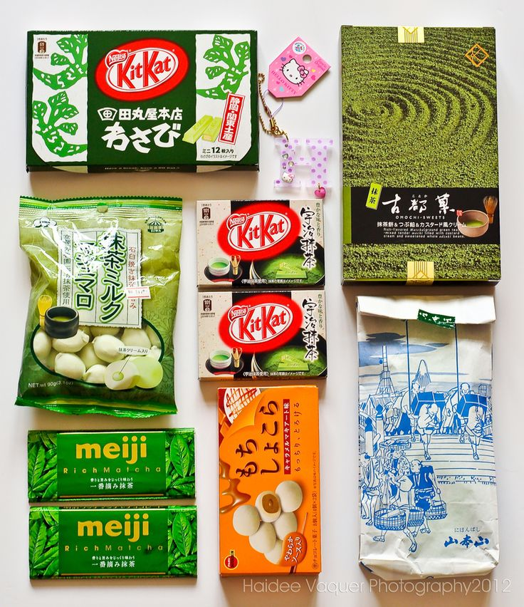 Japanese goodies from my friend, Chelli. Yipee!!! :-)  (L to R) Kitkat wasabi, Hello Kitty key chain, Omochi, matcha marshmallows, Kitkat matcha, green tea, meiji matcha chocolate and bourbon mochi.