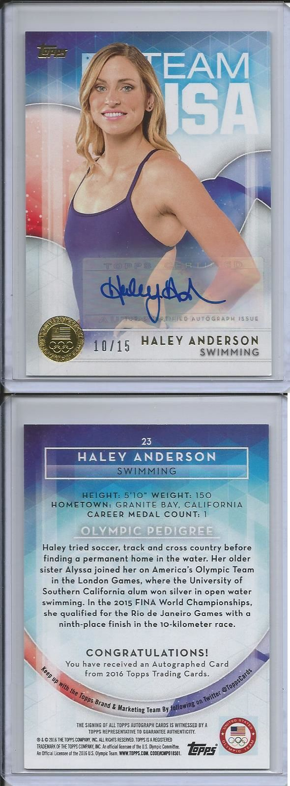 Olympics Cards 2956: 2016 Topps Olympic Haley Anderson Team Usa Swimming Gold Autograph Auto #D 10 15 -> BUY IT NOW ONLY: $34.99 on eBay!