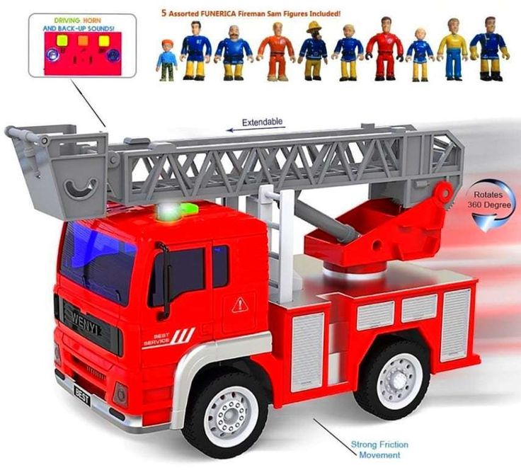 FUNERICA Mini Fire Truck with Lights and Real life Sounds Extendable Ladder NEW | eBay