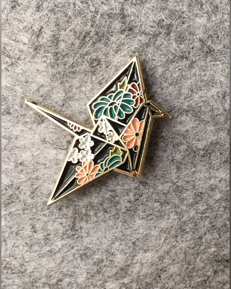 Origami Crane Enamel Lapel Pin with floral Japanese pattern