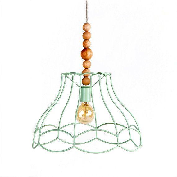 Nudo a sospensione lampada a sospensione Plafoniere Illuminazione Lampada in legno Vintage vittoriano paralume Minimal moderno geometrico Mint Green Home Decor