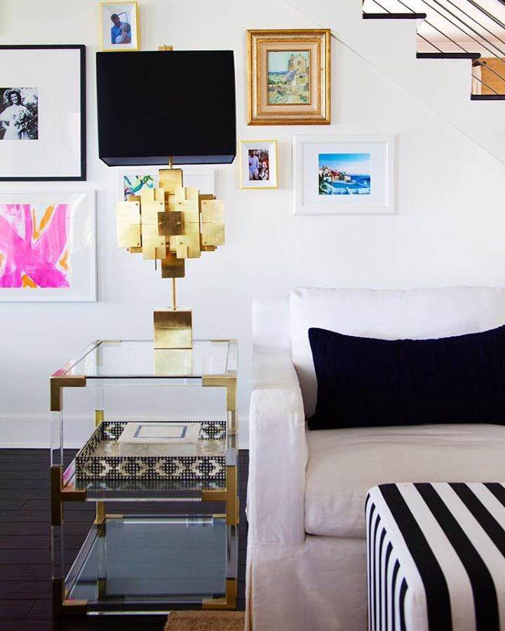 Gallery wall & Jonathan Adler Puzzle Lamp and Jacques Table