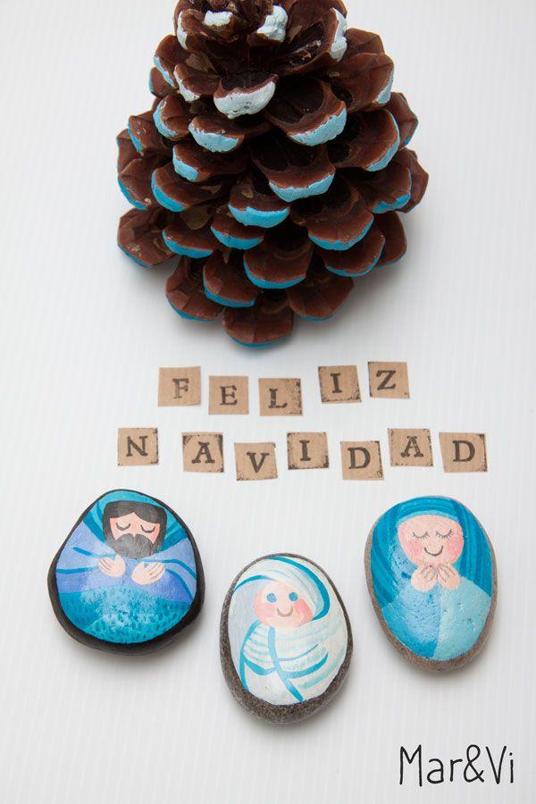 Un belén de piedras pintadas. Manualidades de Navidad