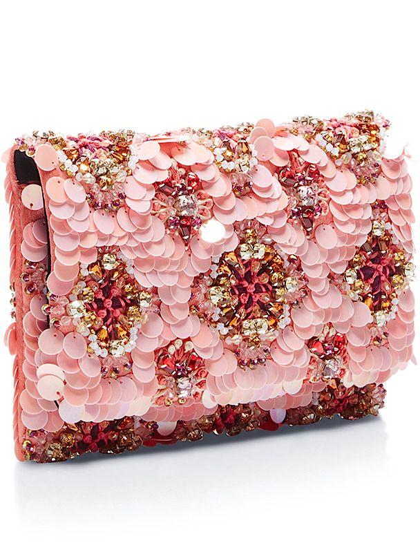Oscar de la Renta Spring 2016 soft petal Petite evening clutch.