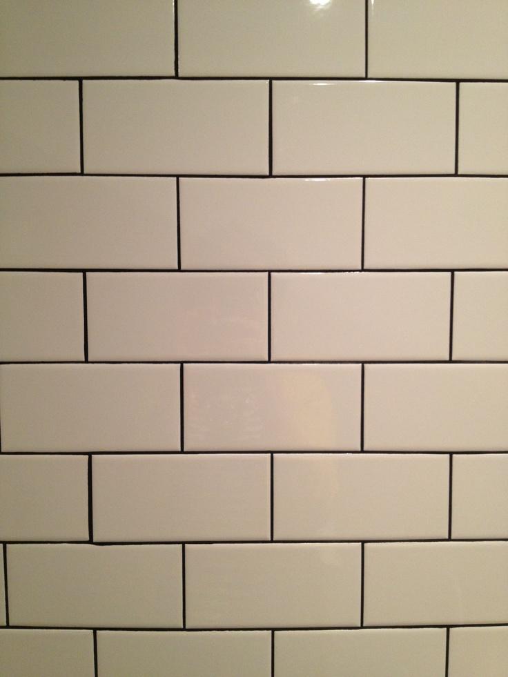 Kitchen White Subway Tile Dark Grout