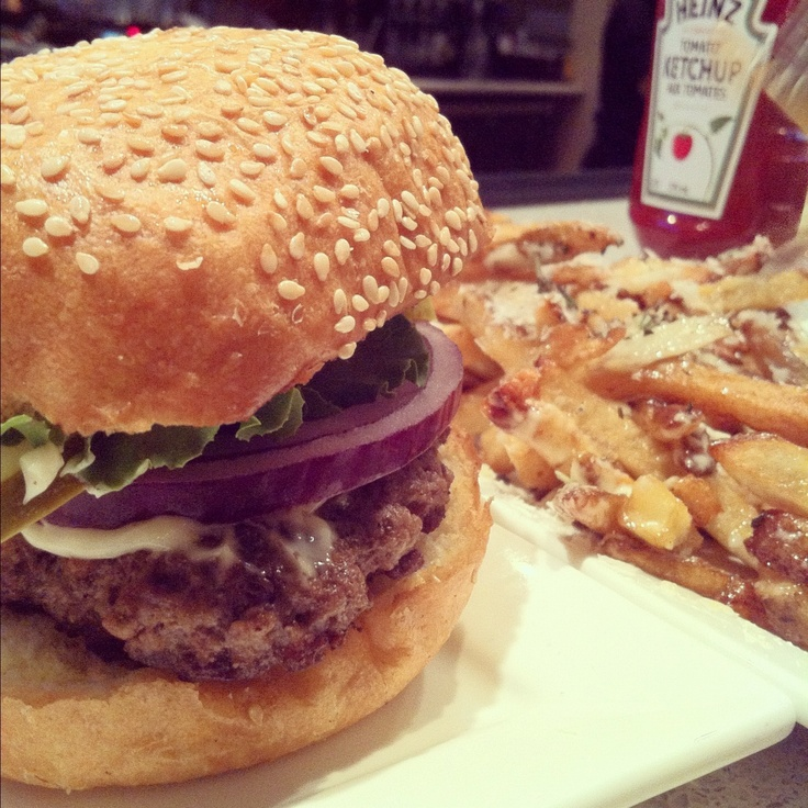Burger & Garlic Parmesan Fries   Stack