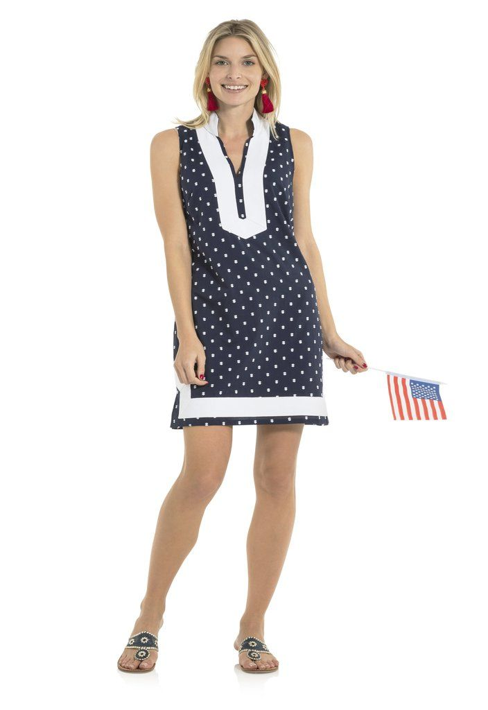 c8eb7abe5b Sail to Sable Sleeveless Clip Dot Tunic Dress in Navy and White in ...