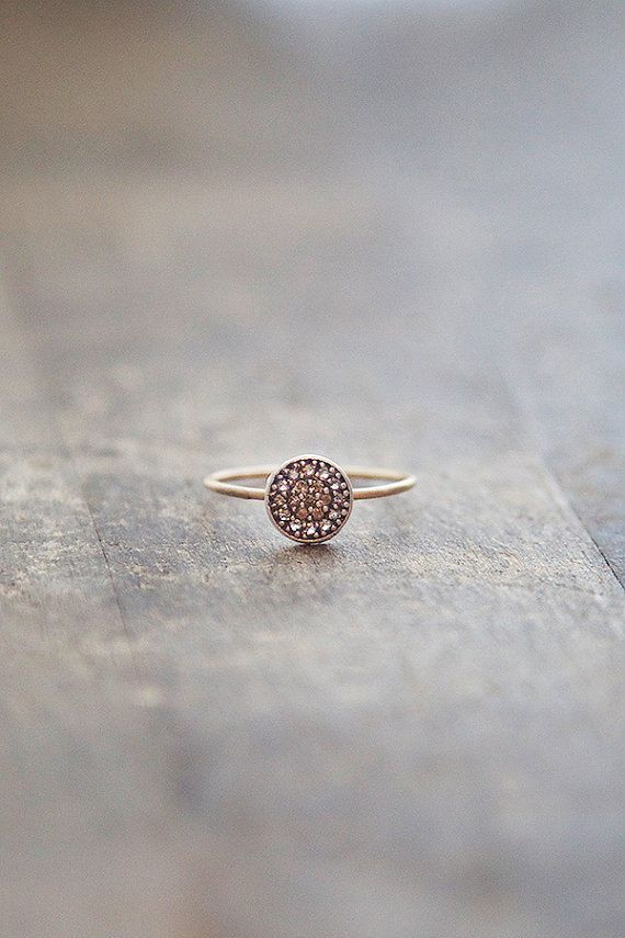 14k Gold Ring, Thin Stacking Ring, Gold and Silver Mixed Metal Ring, Brushed Matte Ring, Modern Engagement Ring, Raw Diamond Ring