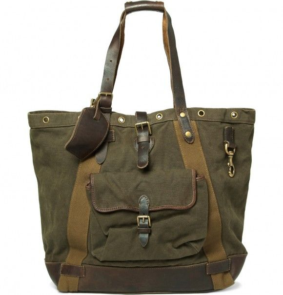 Ralph Lauren Shoes Accessories Leather and Canvas Tote Bag 1 580x605