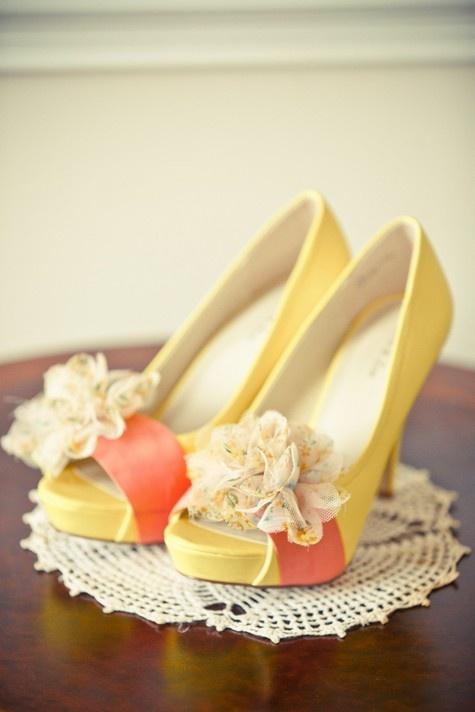 Cute cute shoes!: Wedding Inspiration, Yellow Weddings, Peep Toe, Wedding Shoes, Wedding Ideas, Bridesmaid, Weddingshoes, Peach Wedding, Shoes Shoes