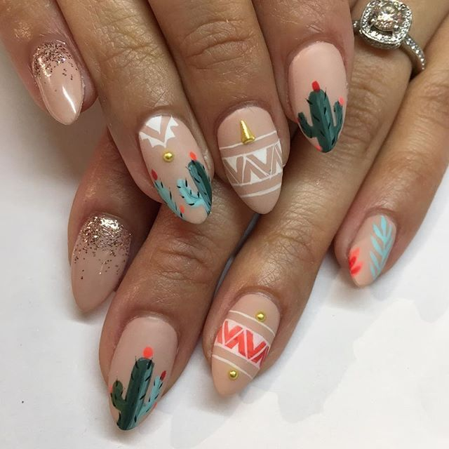 """Southwestern style for my Texan @mare_in_sf  Inspired by the cutest set done by @ninanailedit  Also obsessed with this nude compliments of @shopncla #gelous in """"On Sundays We Brunch"""" ✨ #nailart #gelnails #cactus #sparklesf"""