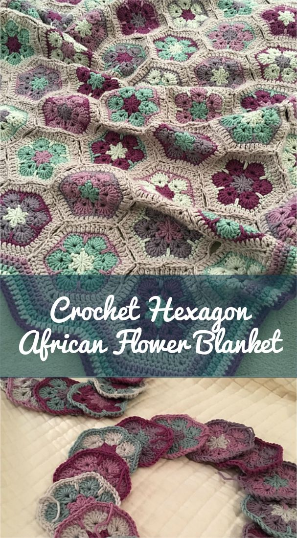 Crochet Hexagon African Flower Blanket Free Pattern Gehaakte