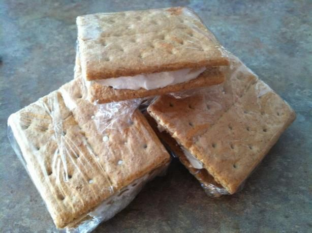 I make these ALL the time, but I use chocolate grahams. They are a weight watchers followers BEST friend. This time around I'm going to make some white ones and some mixed ones. Easy easy easy to make and a GREAT alternative for ice cream. MUCH cheaper, too!
