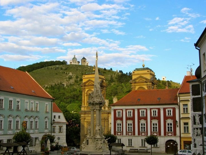 Central Square in Mikulov with St. Sebastian Chapel on Holy Hill
