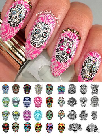 "Sugar Skull Nail Decals Assortment Set #3 - 5 1/2"" x 3"" sheet – Moon Sugar Decals"