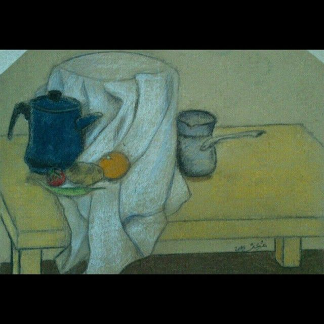 oil pastel and charcoal on colored paper