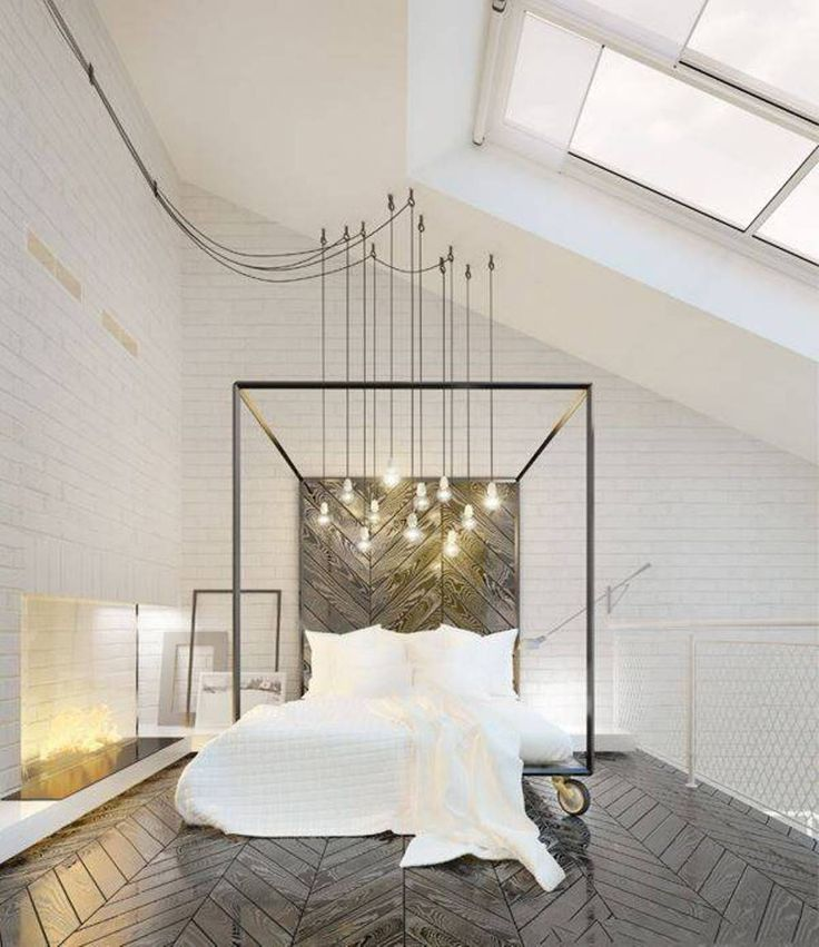 Bedroom , Sophisticated Adult Bedroom Ideas : Adult Bedroom Ideas With Fireplace And Swag Lighting And Canopy Bed Frame With Wheels And Chevron Floor