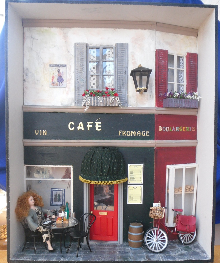 Make this miniature French Cafe in the 2013 version of Dolls House Projects (Our sister publication) on sale 27th Sept 2012. Copies can be bought online at www.dollshouseprojects.co.uk, over the phone by calling 01778 392007 or on the UK high street from your local Hobbycraft store or WHSmiths