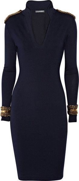ALEXANDER MCQUEEN - Embellished Wool-jersey Dress
