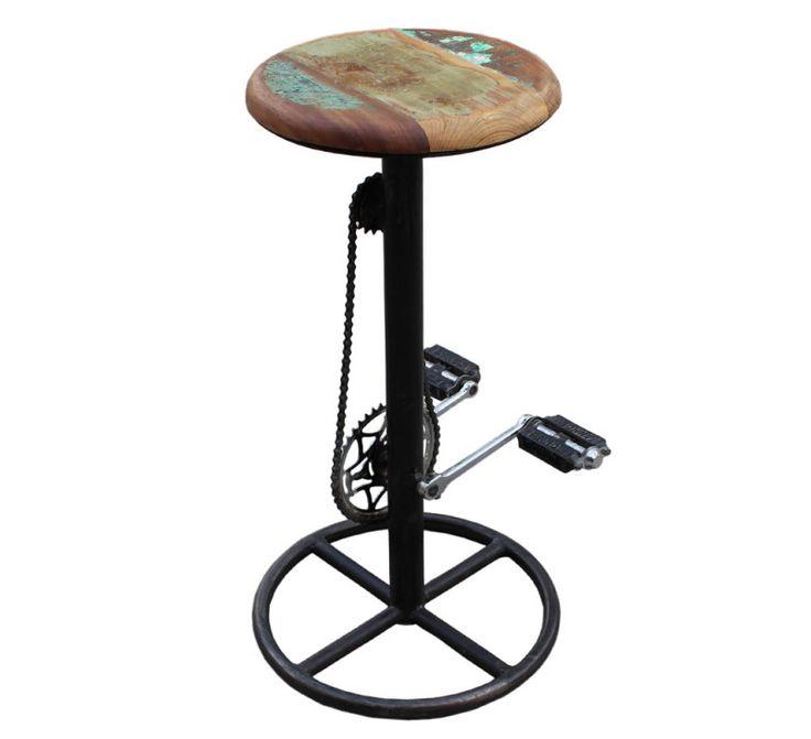 Vintage Barhocker Fahrradstil Stahl / Holz Massiv   Designermöbel   Moderne  Möbel
