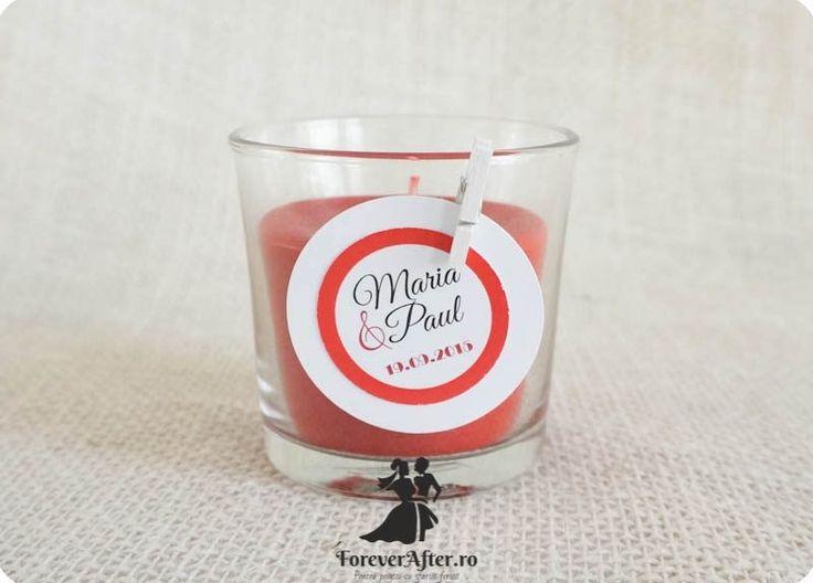 Marturie nunta lumanare parfumata in pahar Red Circles
