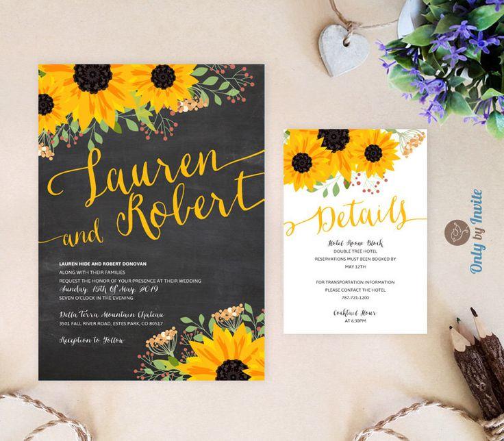 25 best Sunflower wedding invitations ideas – Sunflower Wedding Invitations Kits