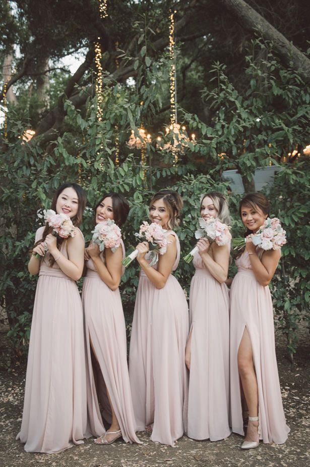 A Blush Outdoor Wedding Filled With Rustic Romance Rose Bridesmaid Dresses Blush Bouquet Bridesmaid Rustic Bridesmaid Dresses
