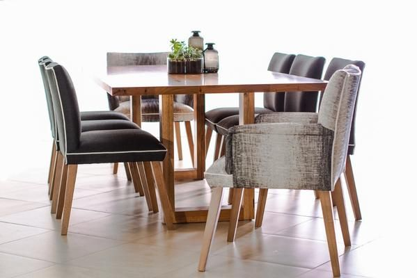 Create your statement dining room with a beautifully crafted dining table and bold chairs.    The Chicago dining table is made with recycled Australian hardwood and the Maison dining chairs are upholstered in your choice of gorgeous fabrics.