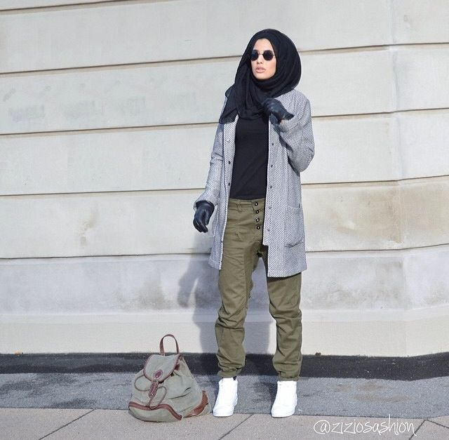 ziziosashion. Military style clothing. Hijab fashion. Gray cardigan, black t-shirt, olive green pants. White shoes, black Hijab and shades. Cool