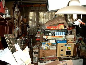 Hoarding :  Compulsive hoarding Apartment.jpg  Compulsive hoarding, also known as hoarding disorder,[1] is a pattern of behavior that is characterized by excessive acquisition and an inability or unwillingness to discard large quantities of objects that cover the living areas of the home and cause significant distress or impairment.  13.11. 2016  www.netkaup.is