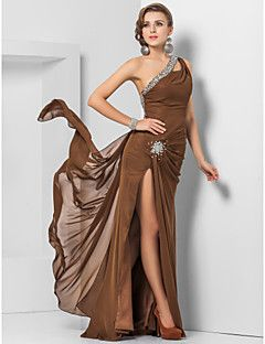TS Couture® Formal Evening / Military Ball Dress - Open Back Plus Size / Petite Sheath / Column One Shoulder Floor-length Chiffon with Beading  – USD $ 335.00