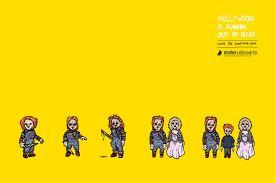 Локальный желтый фон, создает пространство для воображения. Маленькие фигурки зомби, мне кажутся как на театральной сцене. Шрифты очень подходят к теме плаката, композиция идеальна, все текстовая информация соединена в один блок, стильно и лаконично.)
