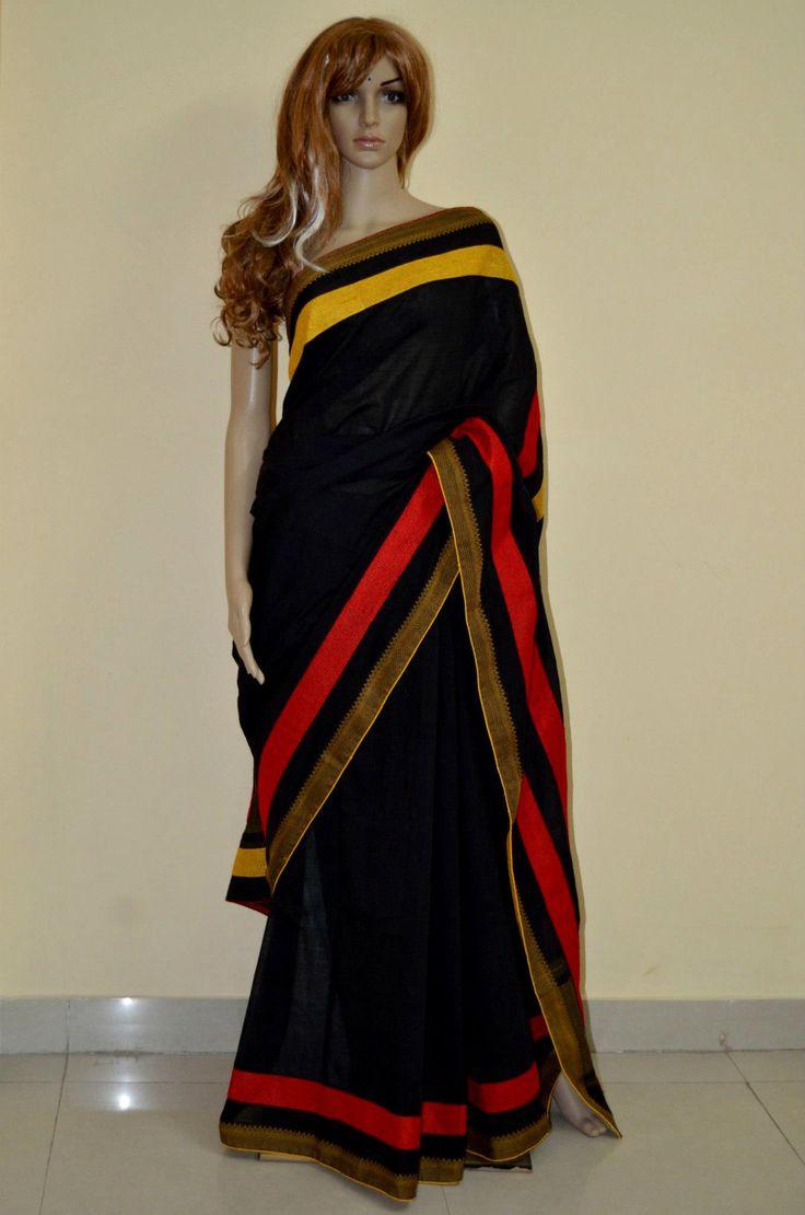 Stunningly beautiful black handloom saree with thread by Sravams, $170.00