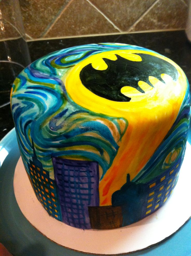 Batman starry 'knight' hand painted cake