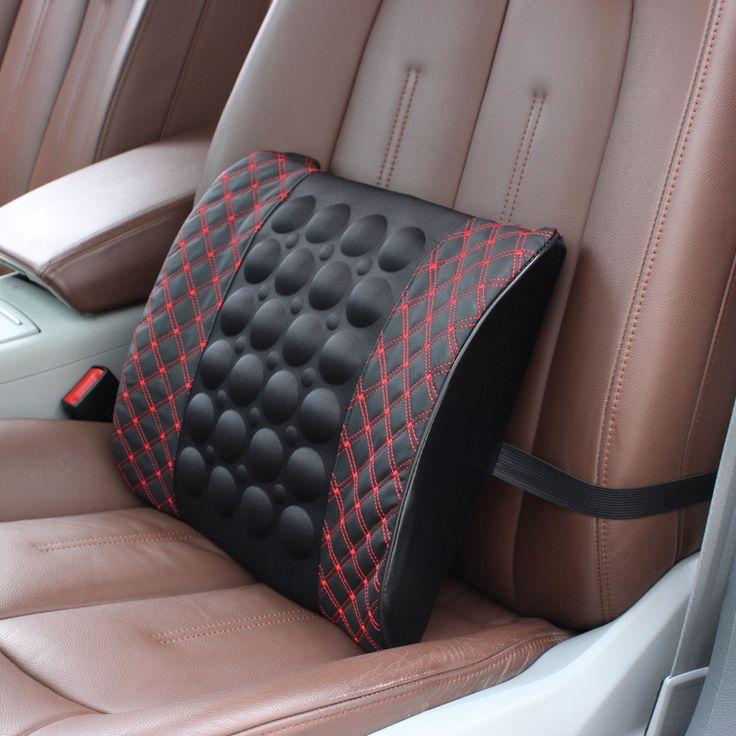 Electric Massage Lumbar Cushion Car Office Dual Purpose,Microfiber PU Leather Back Support Car,Cuscino Lombare Gift,#R-7265